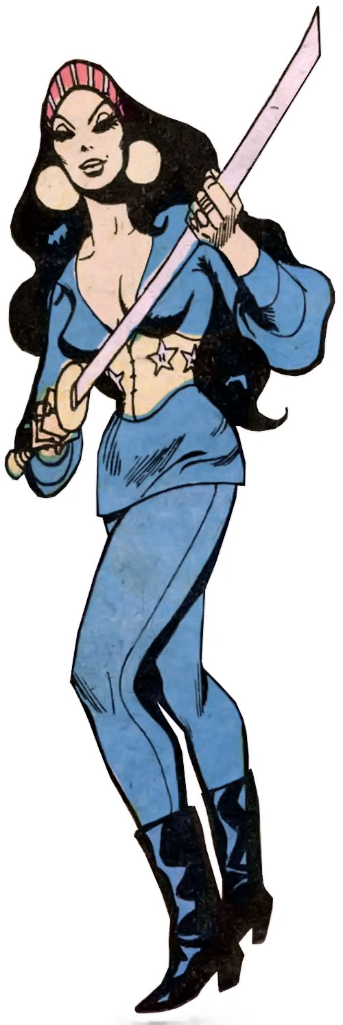 Lady Shiva (Richard Dragon early version) (DC Comics) with a katana