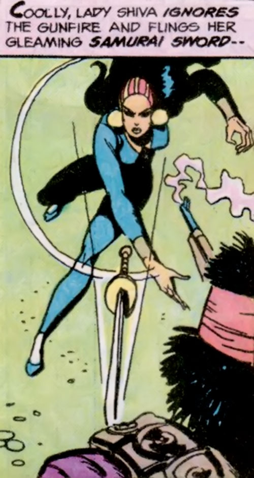 Lady Shiva (Richard Dragon early version) (DC Comics) hurls her sword