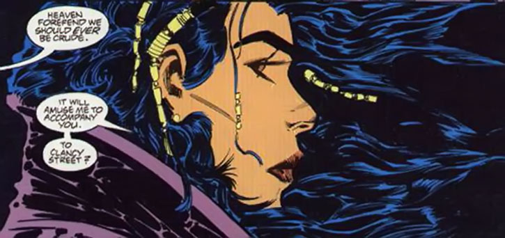 Lady Shiva portrait with her hair in the wind