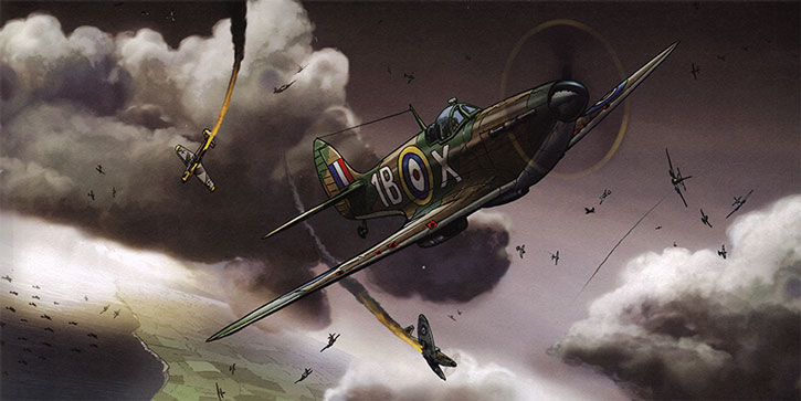 A scene of the Battle of Britain