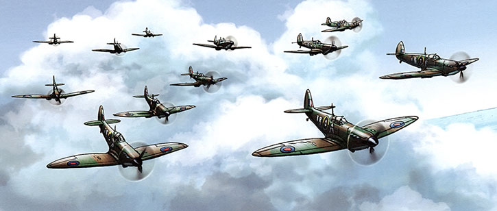 Spitfire squadron flying above the clouds