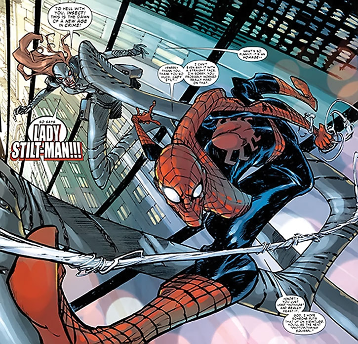 Lady Stilt-Man being mocked by Spider-Man