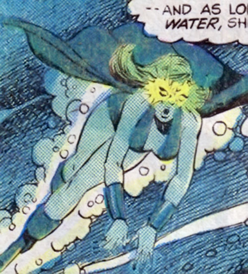 Lamprey of the legion of Super-Heroes (DC Comics) swimming with eyes glowing