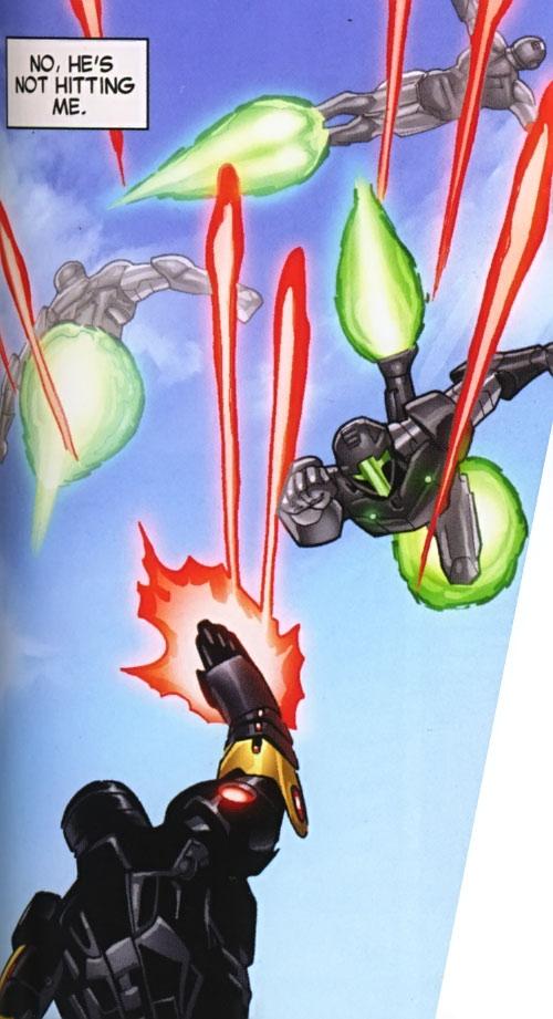 Lancelot (Iron Man character) (Marvel Comics) dodging repulsor fire