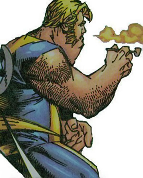 Landslide of Cerebro's X-Men (Marvel Comics) smoking a pipe