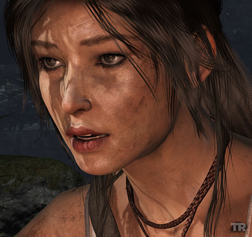Lara Croft Tomb Raider (reboot 2013) face closeup reacting