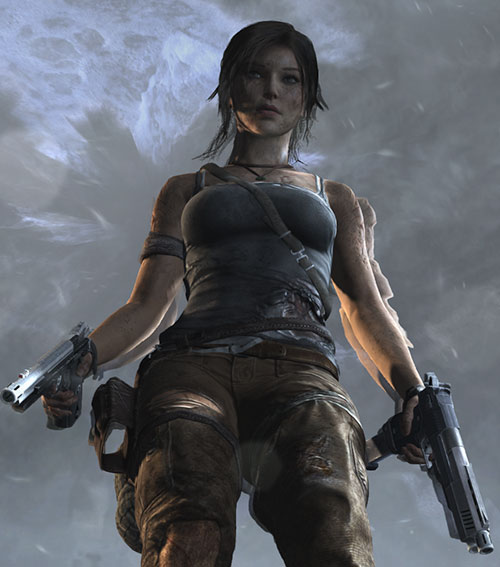 Lara Croft Tomb Raider (reboot 2013) dual-wielding pistols, low angle, ghosting