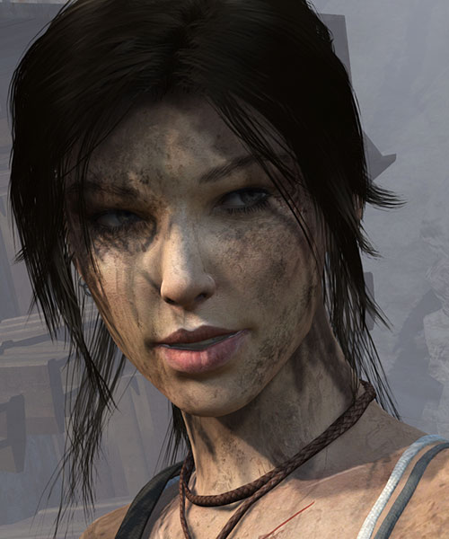 Lara Croft Tomb Raider (reboot 2013) smiling face closeup dirty
