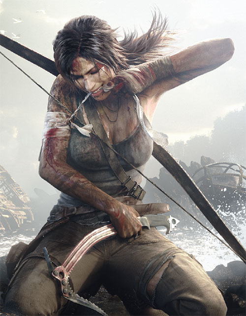 Lara Croft Tomb Raider (reboot 2013) bandaging her arm with her teeth
