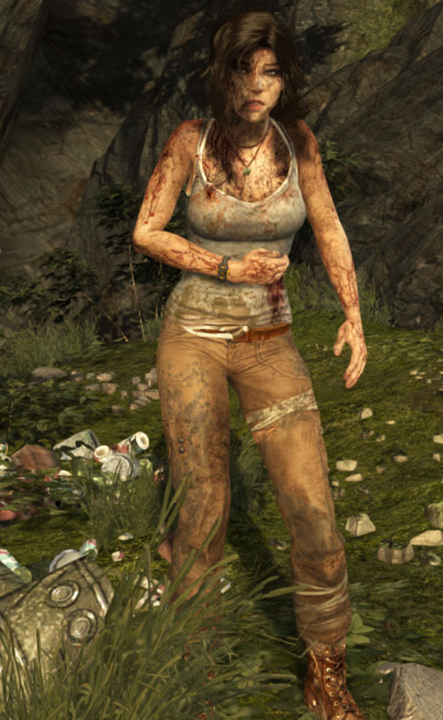 Lara Croft Tomb Raider (reboot 2013) in shock wounded flank