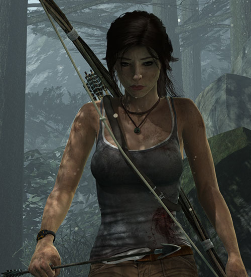 Lara Croft Tomb Raider (reboot 2013) in a forest with a crude bow, worried