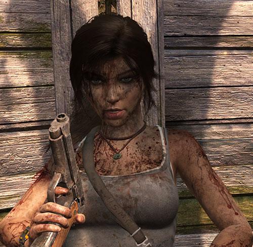 Lara Croft Tomb Raider (reboot 2013) bloodied, with a pistol