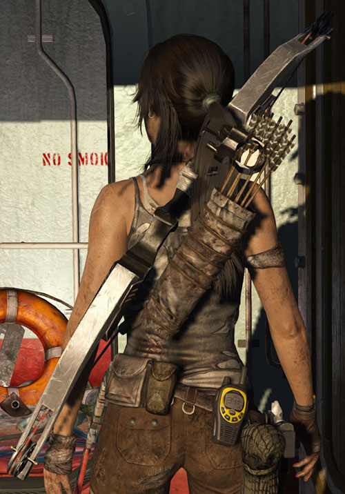 Lara Croft Tomb Raider (reboot 2013) back view with bow and other gear