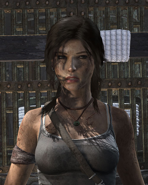 Lara Croft Tomb Raider (reboot 2013) looking exhausted portrait