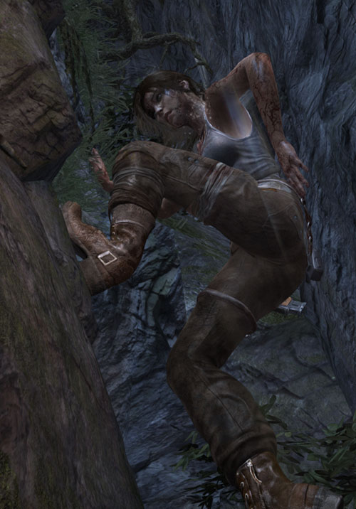 Lara Croft Tomb Raider (reboot 2013) climbing in a natural chimney