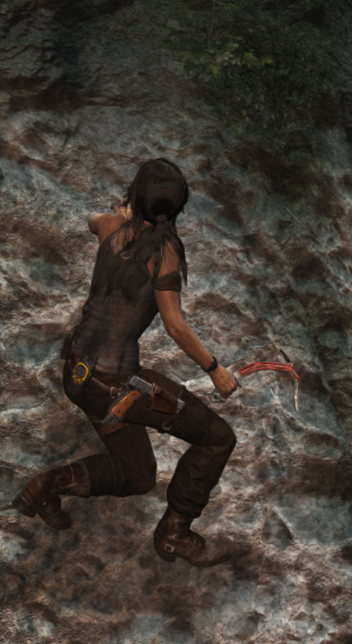 Lara Croft Tomb Raider (reboot 2013) climbing a cliff with her axe