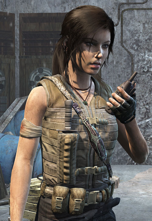 Lara Croft Tomb Raider (reboot 2013) with vest, sheathed knife and walkie talkie