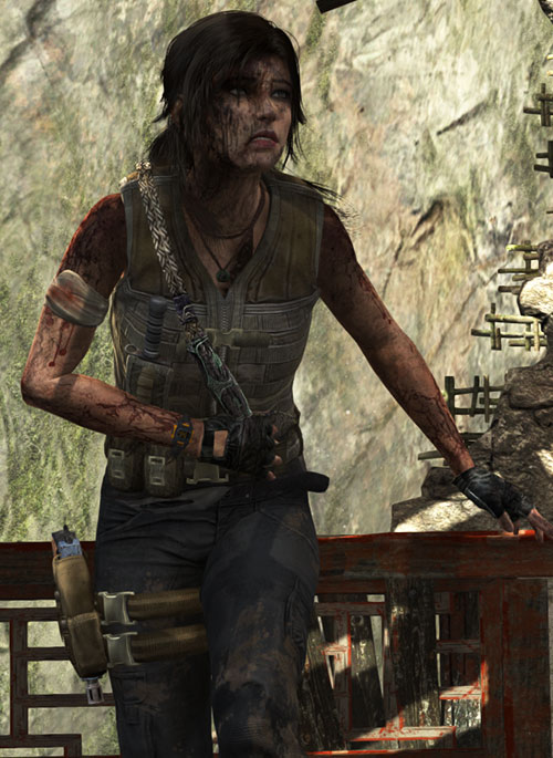 Lara Croft tomb raider (reboot 2013) bloodied dirty guerilla outfit