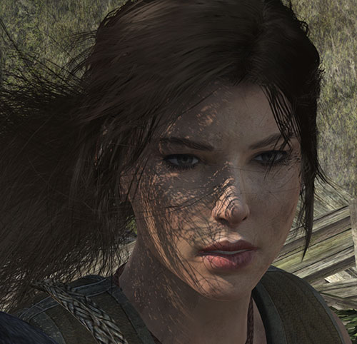 Lara Croft tomb raider (reboot 2013) hair flowing in the wind
