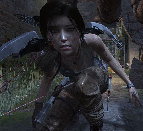 Lara Croft tomb raider (reboot 2013) crouching in a small tunnel with her bow