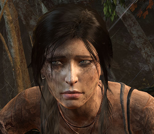 Lara Croft tomb raider (reboot 2013) dirty exhausted squinting eyes