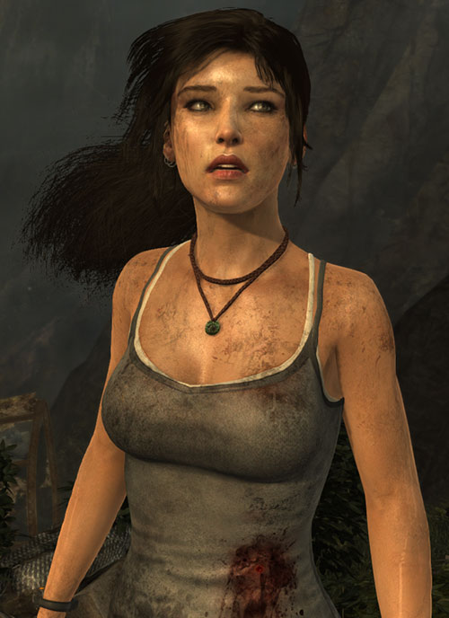 Lara Croft tomb raider (reboot 2013) in partial shock, looking up, flank punctured