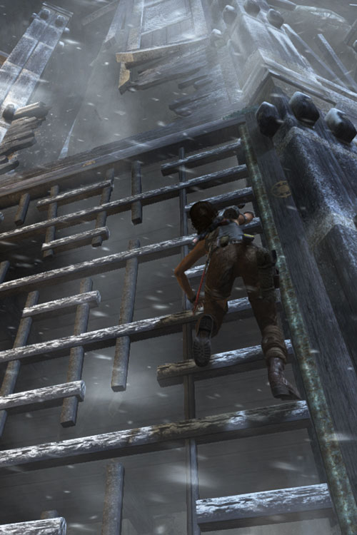Lara Croft tomb raider (reboot 2013) bottom view climbing a wooden structure