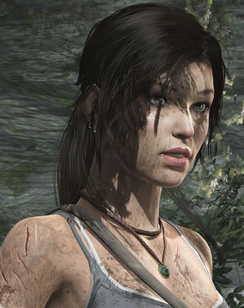 Lara Croft tomb raider (reboot 2013) face closeup jade pendant