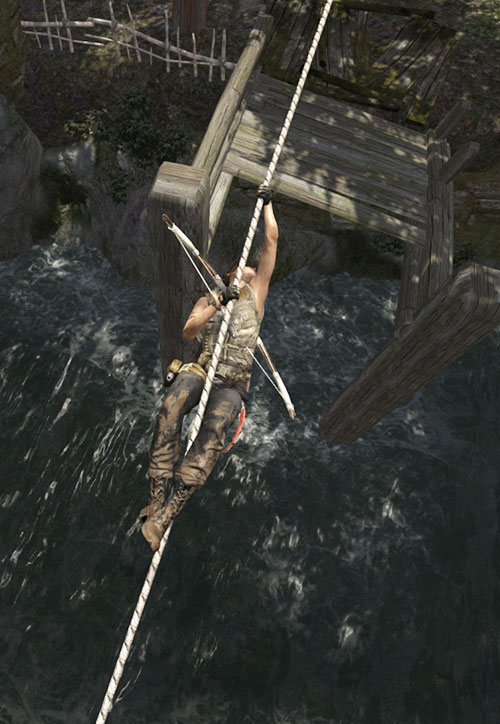 Lara Croft tomb raider (reboot 2013) crossing a river using a rope, top view