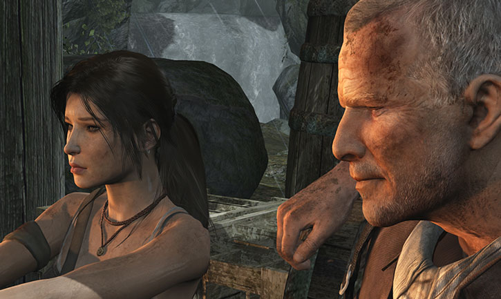 Lara Croft and Conrad Roth near a campfire