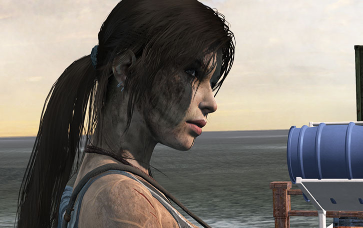 Side view of Lara Croft's lovely mug