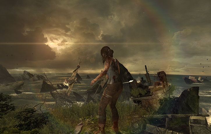 A wounded Lara Croft discovers a ship cemetery