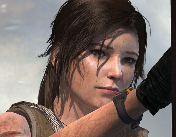 Lara Croft face closeup