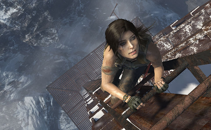 Lara Croft climbing a very tall antenna