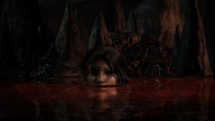 Lara Croft emerging from a red liquid