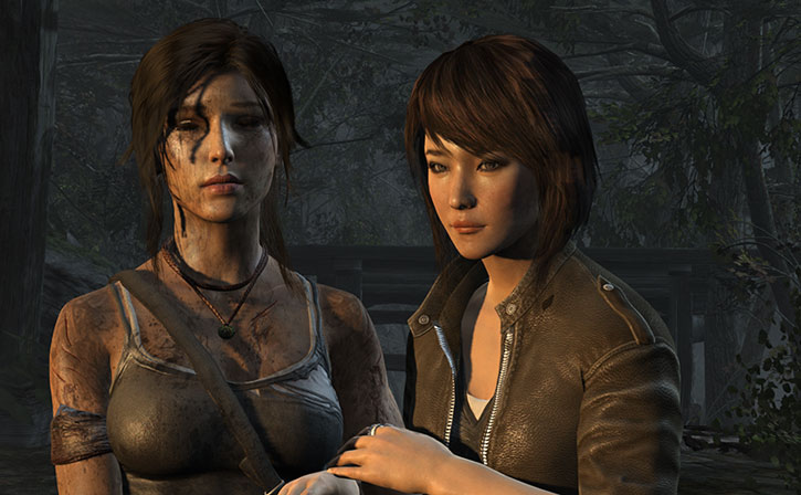 An exhausted Lara Croft and her friend Sam