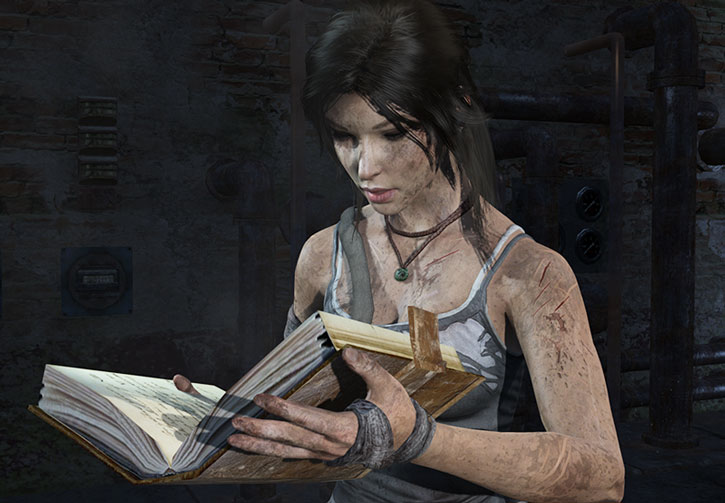 Lara Croft reads an old tome