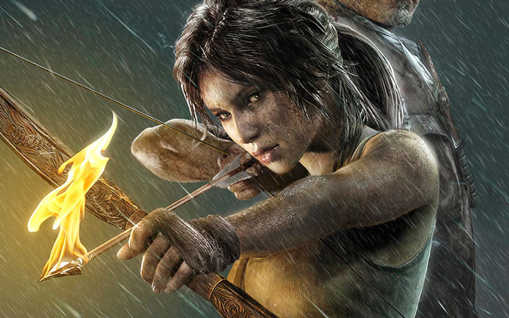 Lara Croft aims a bow with a burning arrow under the rain