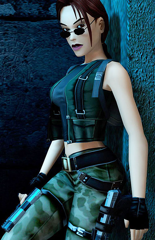 Lara Croft in cammo fatigues