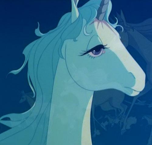 Last Unicorn (animated movie) head closeup