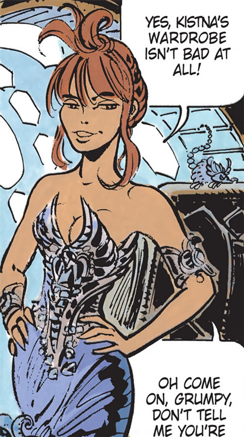 Laureline (Valerian graphic novels) in an alien evening dress