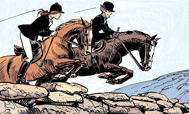 Laureline (Valerian graphic novels) riding a horse