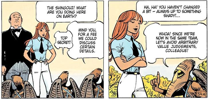 Laureline (Valerian graphic novels) teasing the Shingouz