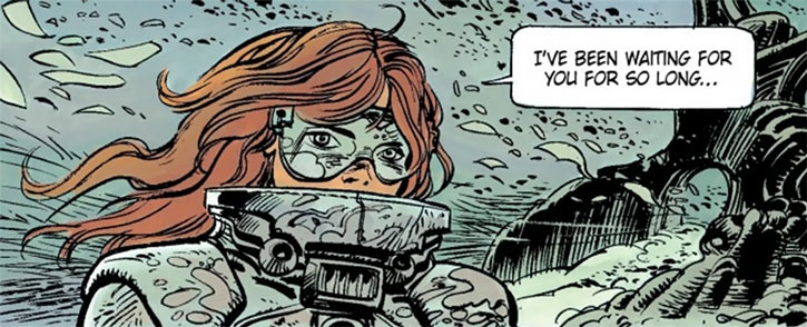 Laureline (Valerian graphic novels) with goggles and hardsuit