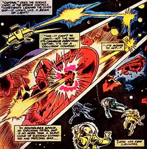 Lazon of the League of Super-Assassins (DC Comics) attacks a spaceship
