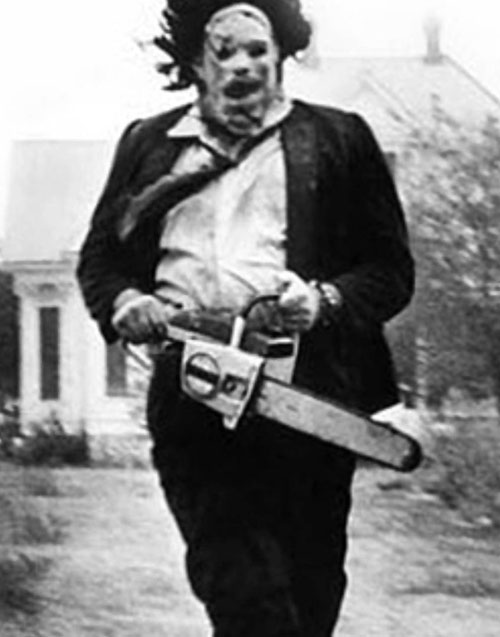 Leatherface (Texas Chainsaw Massacre) in B&W from the original poster