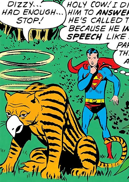 Stunned parakat and Superboy (Legion of Super-Heroes) (DC Comics)