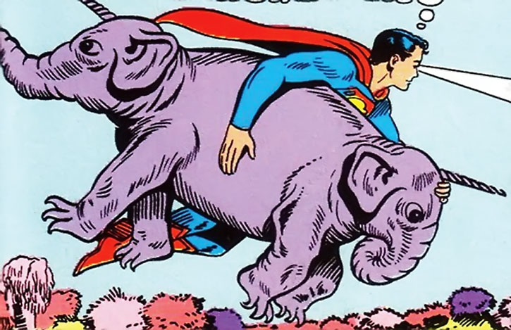 A Tork two-headed elephant unicorn captured by Superboy