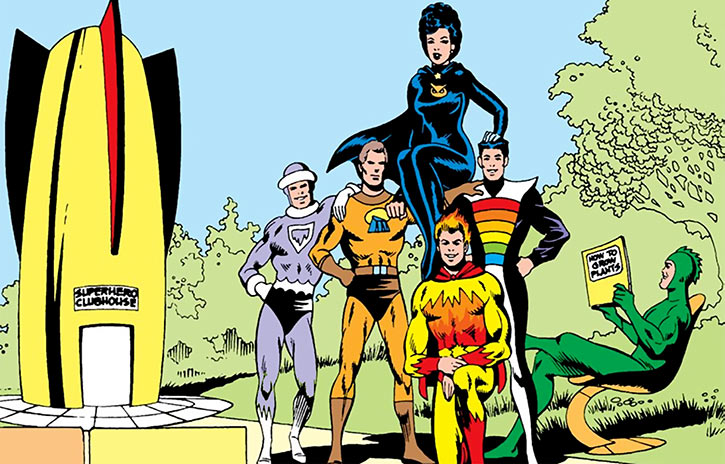 Legion of Substitute Heroes - DC Comics - The original team posing near the clubhouse rocket