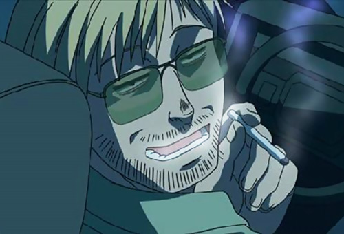 Leigharch (Shenhua's driver in Black Lagoon) smoking weed